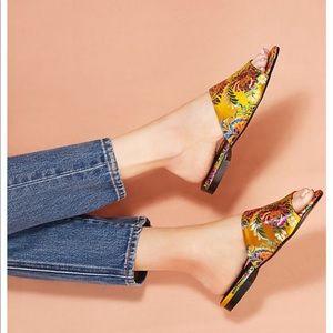 Floral brocade slides by ANTHROPOLOGIE Chio sandal
